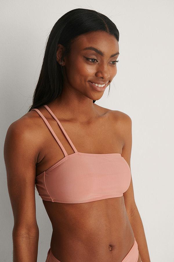 NA-KD Swimwear Recycled Bikinitopp Med En Axel rosa