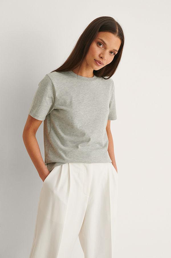 NA-KD Basic T-Shirt I Organisk Bomull Med Rund Hals grå