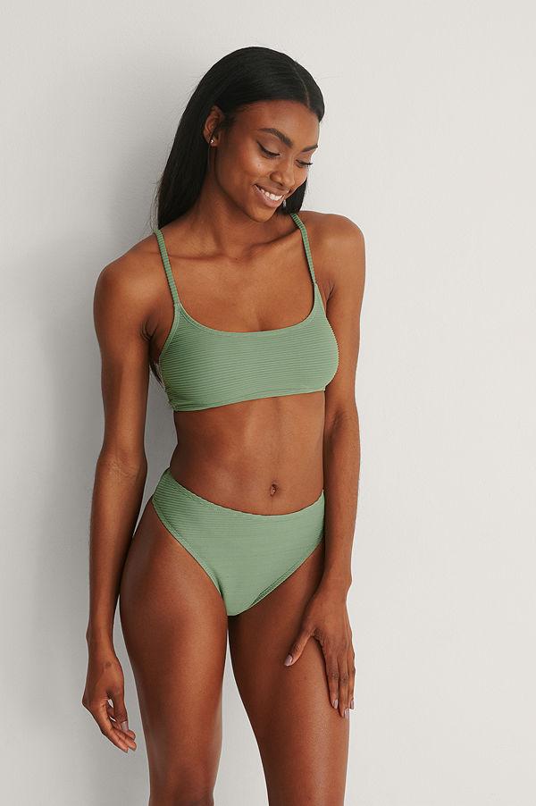 NA-KD Swimwear Recycled Bikiniunderdel Med Hög Midja grön