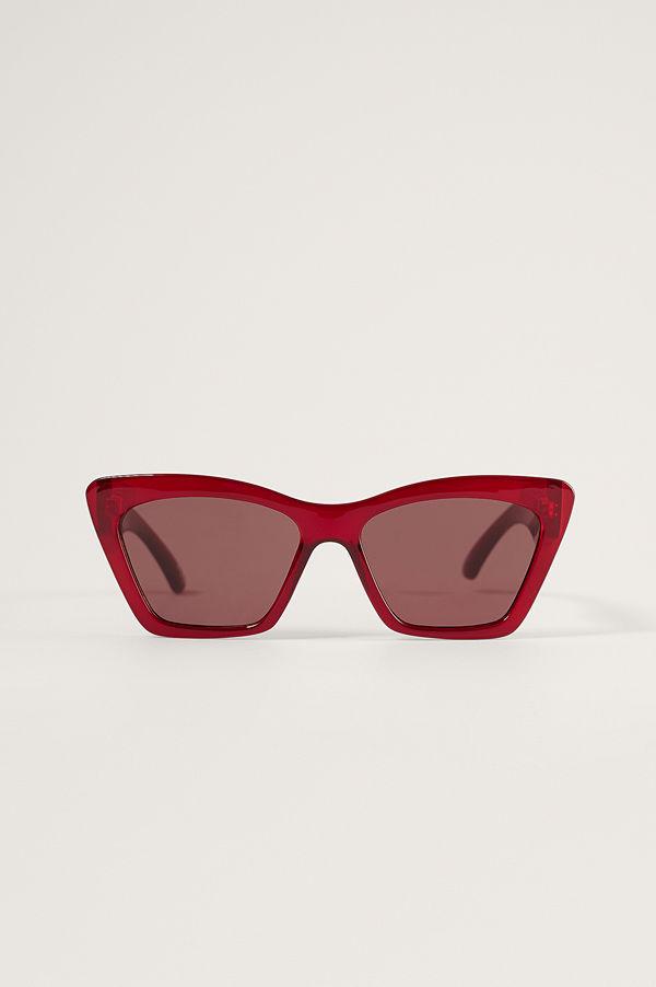 NA-KD Accessories Fyrkantigt Cateye-solglasögon röd