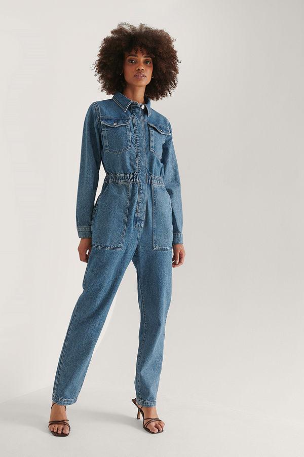 NA-KD Trend Ekologisk Denim Jumpsuit Med Elastisk Midja blå
