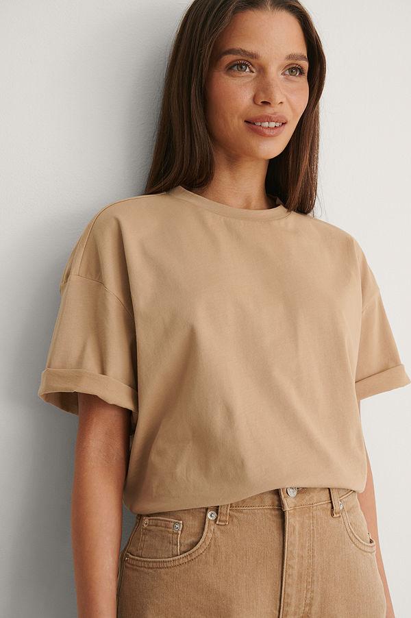 NA-KD Basic Ekologisk Boxig Oversize T-shirt beige