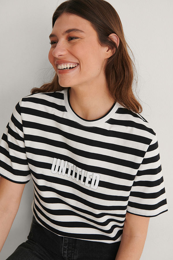 Louise Madsen x NA-KD Striped Oversized Tee multicolor