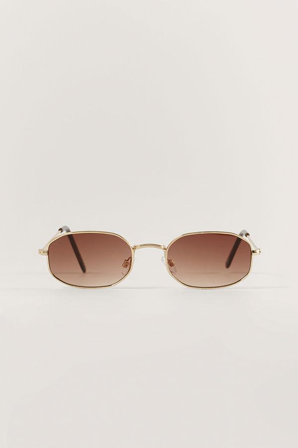 NA-KD Accessories Litet Ovala Solglasögon I Retromodell guld