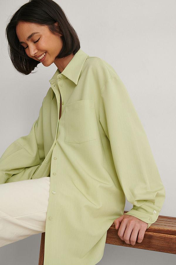 NA-KD Classic Oversize Skjorta grön