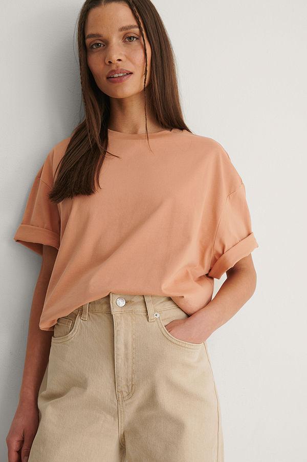 NA-KD Basic Ekologisk Boxig Oversize T-shirt orange