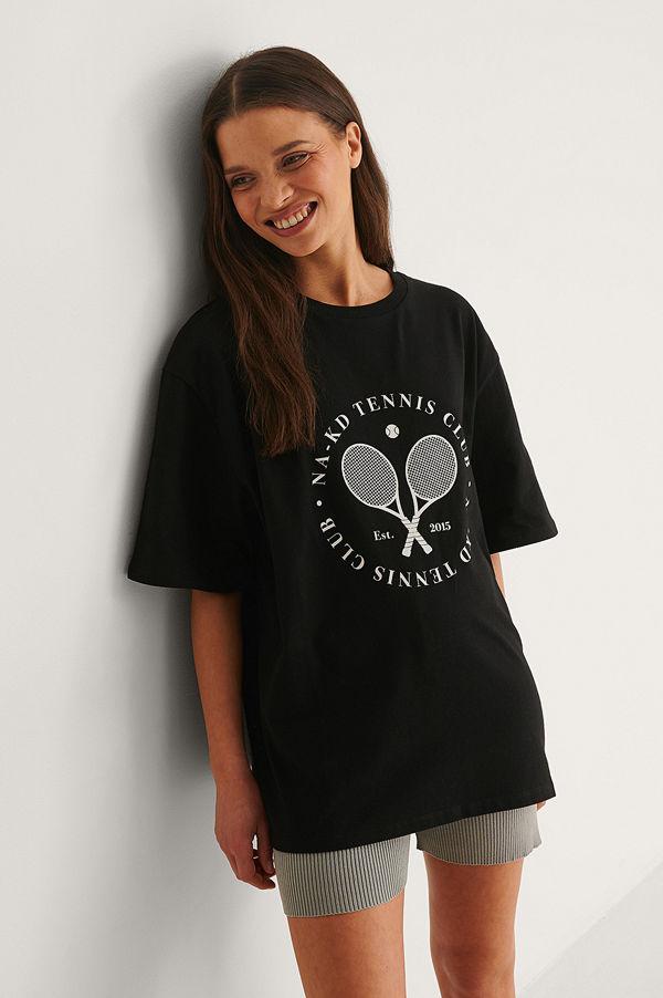 NA-KD T-Shirt Med Tennis Club Circle-Tryck svart