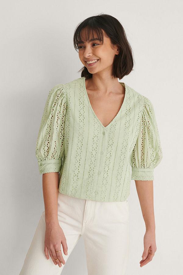Buonalima x NA-KD Skjorta Med Puffärm grön