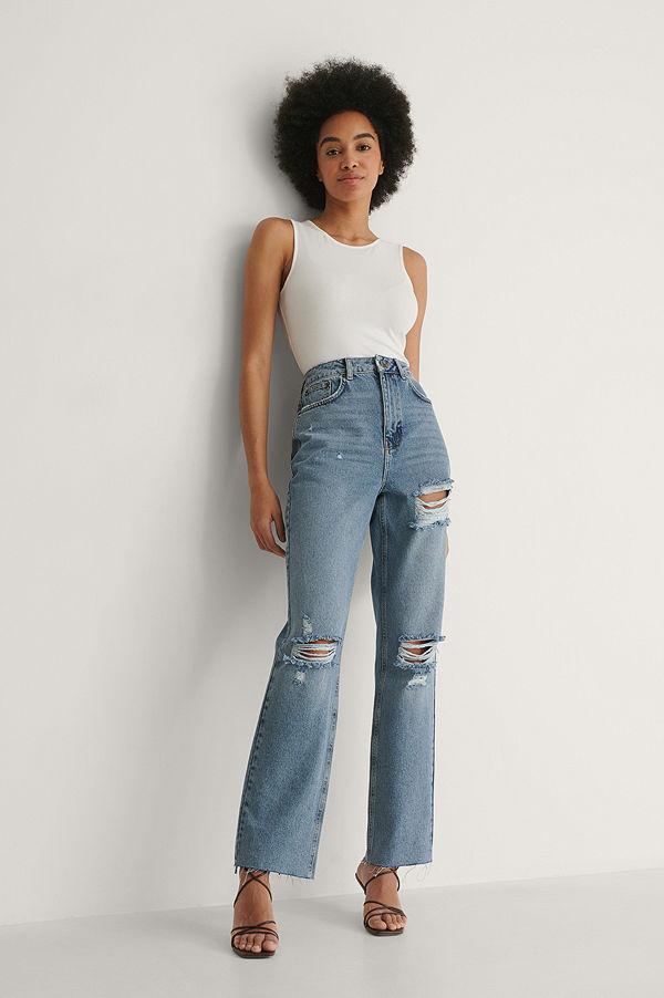 NA-KD Trend Ekologiska Raka Jeans Med Hög Midja Och Sliten Detalj blå