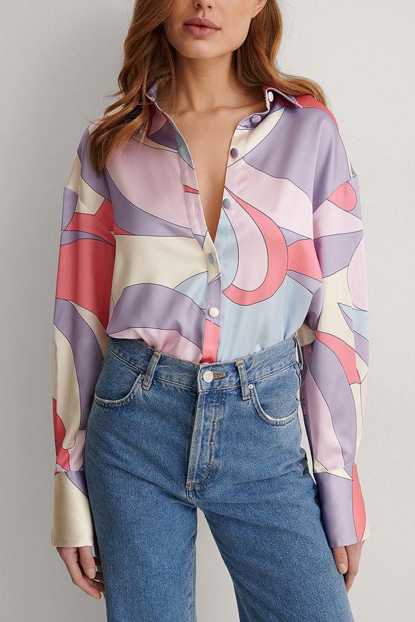 NA-KD Trend Satinskjorta multicolor