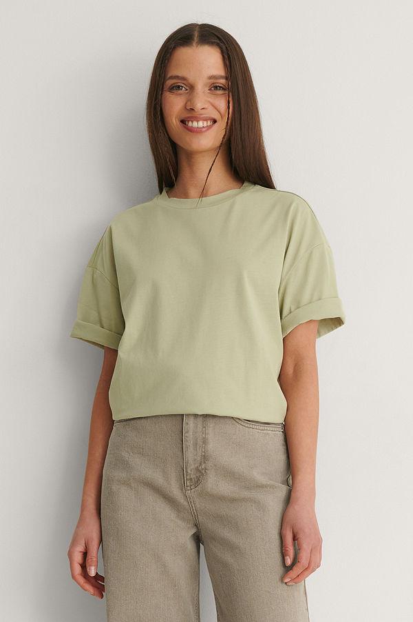 NA-KD Basic Ekologisk Boxig Oversize T-shirt grön