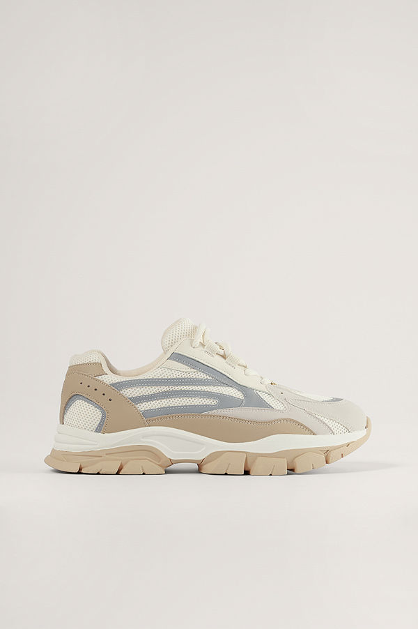 NA-KD Shoes Reflekterande Trekkingsneakers beige