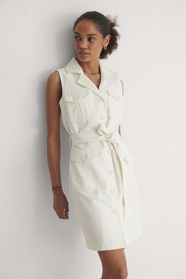 NA-KD Trend Ekologisk Denim Miniklänning Med Bälte vit