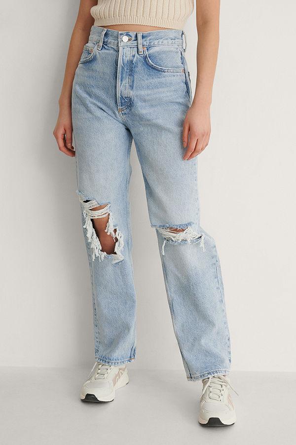 Mango Raka Jeans blå
