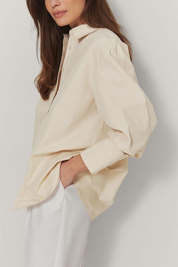 Mathilde Gøhler x NA-KD Oversize Skjorta beige