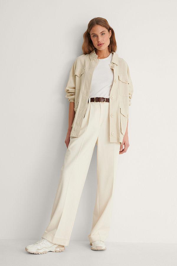 NA-KD Trend Linen Blend Overshirt beige
