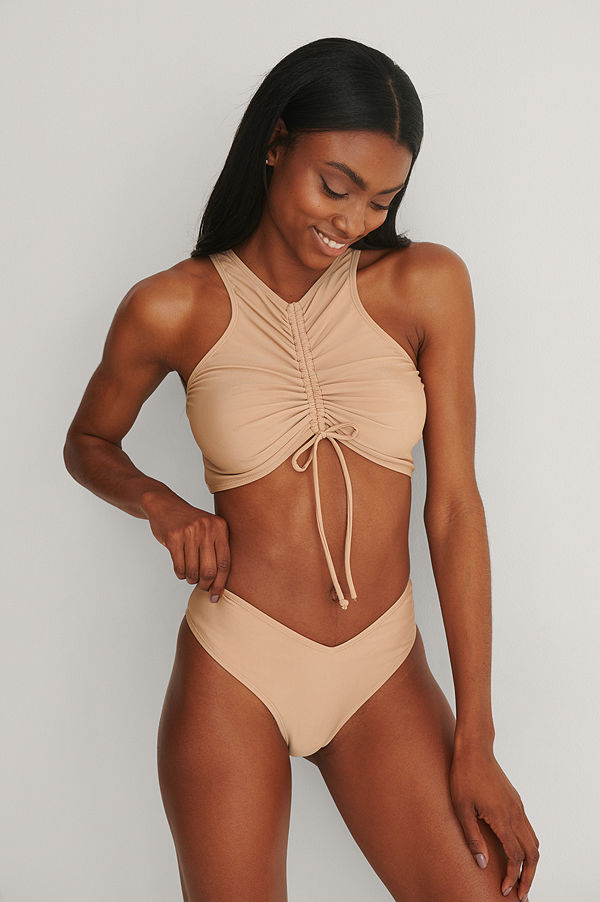 NA-KD Swimwear Återvunnen V-Formad Bikinitrosa beige
