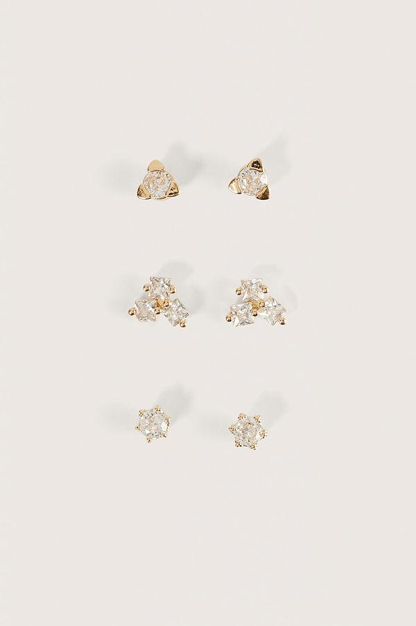 NA-KD Accessories smycke 3-Pack Gulpläterade 18K Örhängen guld