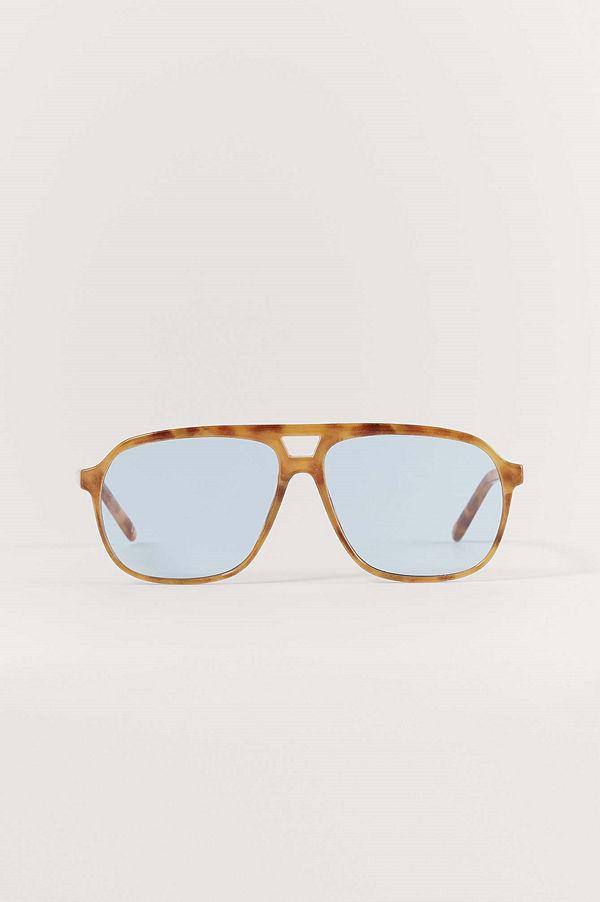 NA-KD Accessories Retro Pilotsolglasögon blå