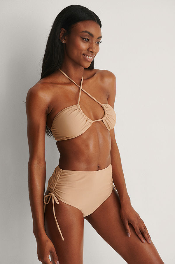 NA-KD Swimwear Återvunnen Bikinibyxa Med Hög Midja beige