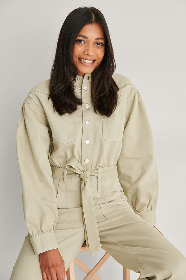 NA-KD Trend Ekologisk Färgad Jumpsuit I Denim beige