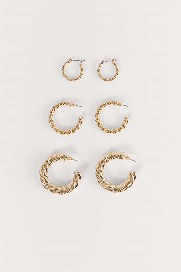 NA-KD Accessories smycke 3-Pack Supertjocka, Återvunna, Vridna Hoopsörhängen guld