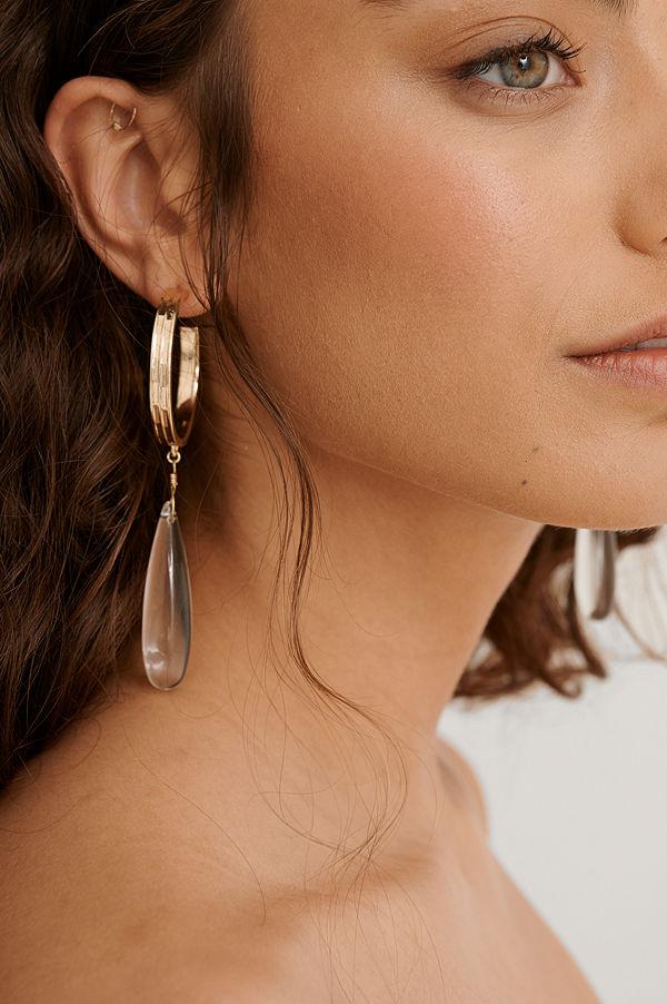 NA-KD Accessories smycke Droppörhängen I Glas guld