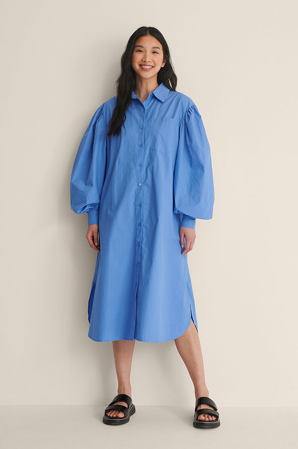 NA-KD Classic Ekologisk Oversize Skjortklänning blå