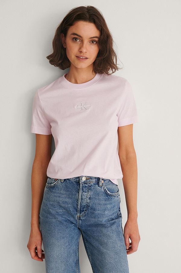 Calvin Klein Ekologisk T-shirt Med Monogramlogga rosa