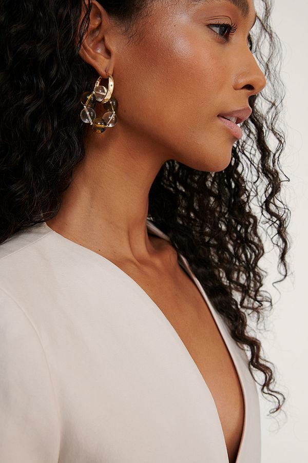 NA-KD Accessories smycke Örhängen Med Färgade Pärlor guld