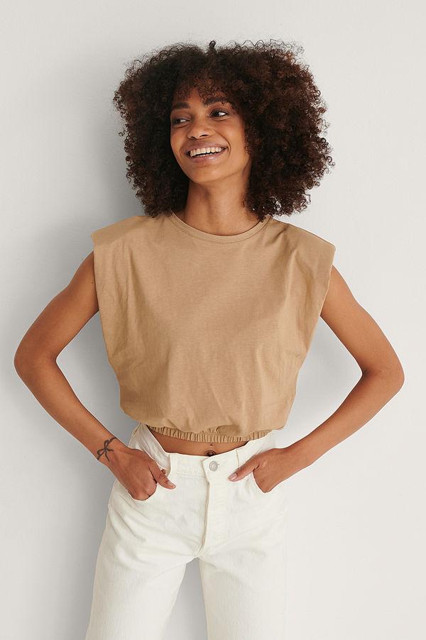 Trendyol T-Shirt Med Axelvaddar beige