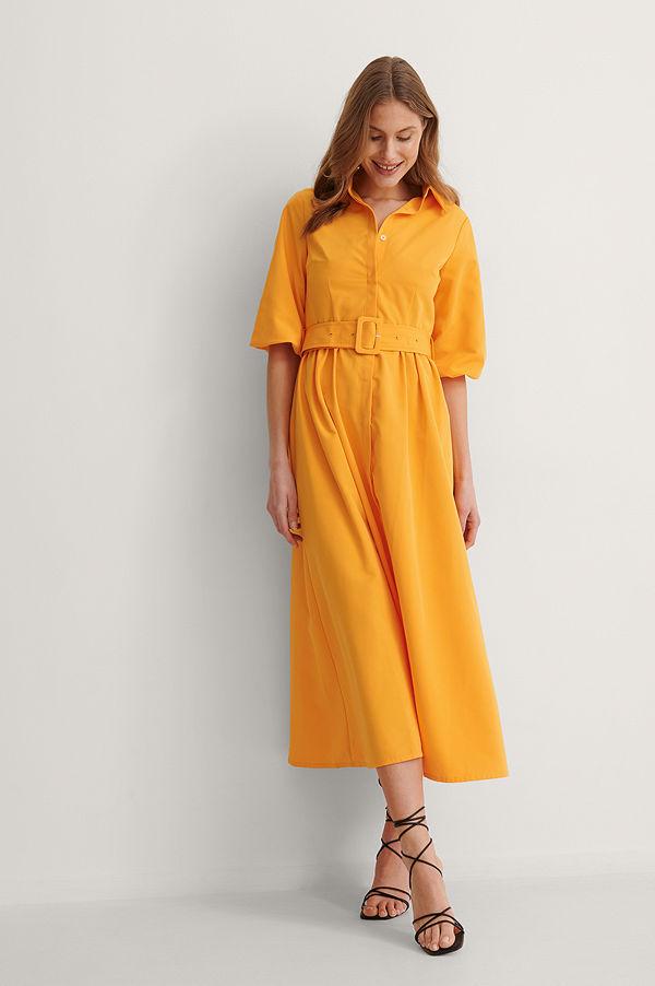 NA-KD Trend smycke Långärmad Maxiklänning orange