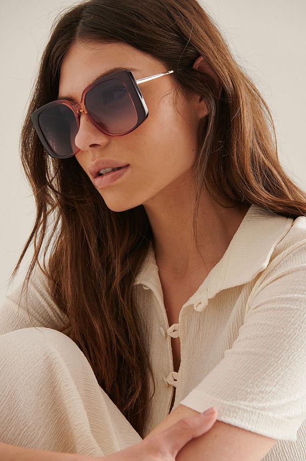 NA-KD Accessories Oversize Fyrkantiga Retrosolglasögon burgundy
