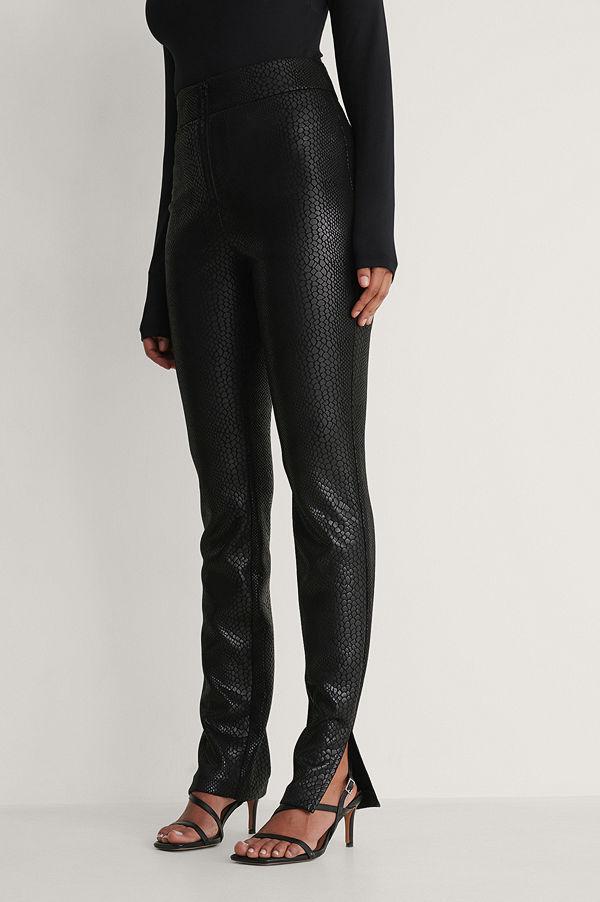 NA-KD Trend Front Zip Pants svart