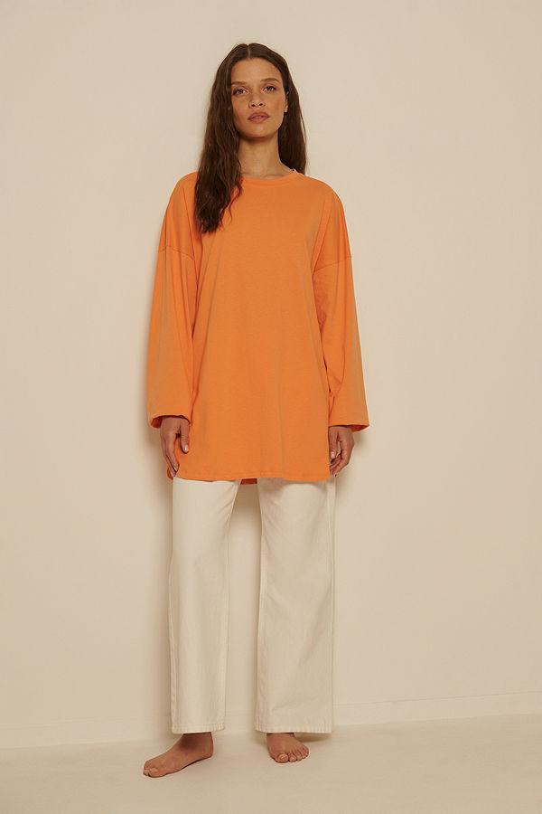 NA-KD Basic Ekologisk Oversize T-shirt Med Sidoslits orange