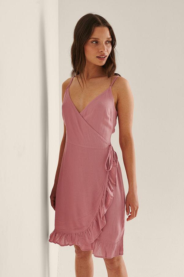 NA-KD Midiklänning Med Omlott rosa