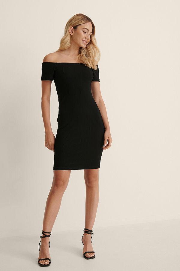 NA-KD Basic Recycled Off shoulder Ribbed Dress svart