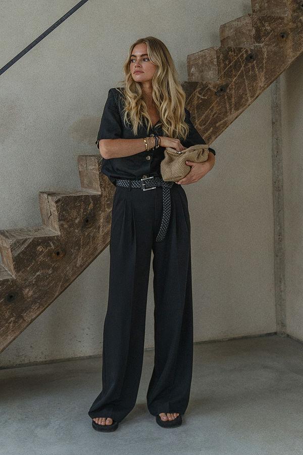 Claire Rose x NA-KD Oversize Kostymbyxor svart svarta
