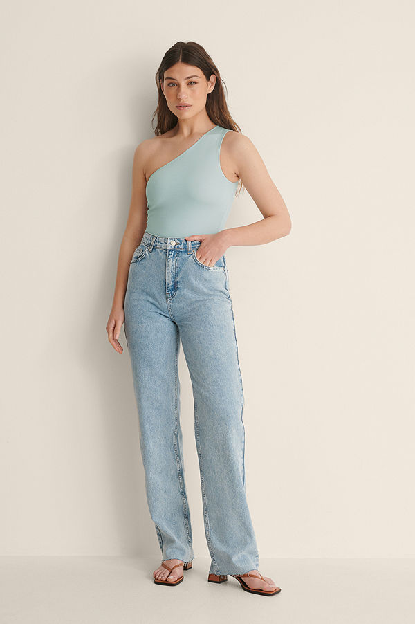 Jasmin Azizam x NA-KD Ekologiska Denimskjorta Med Fickor blå