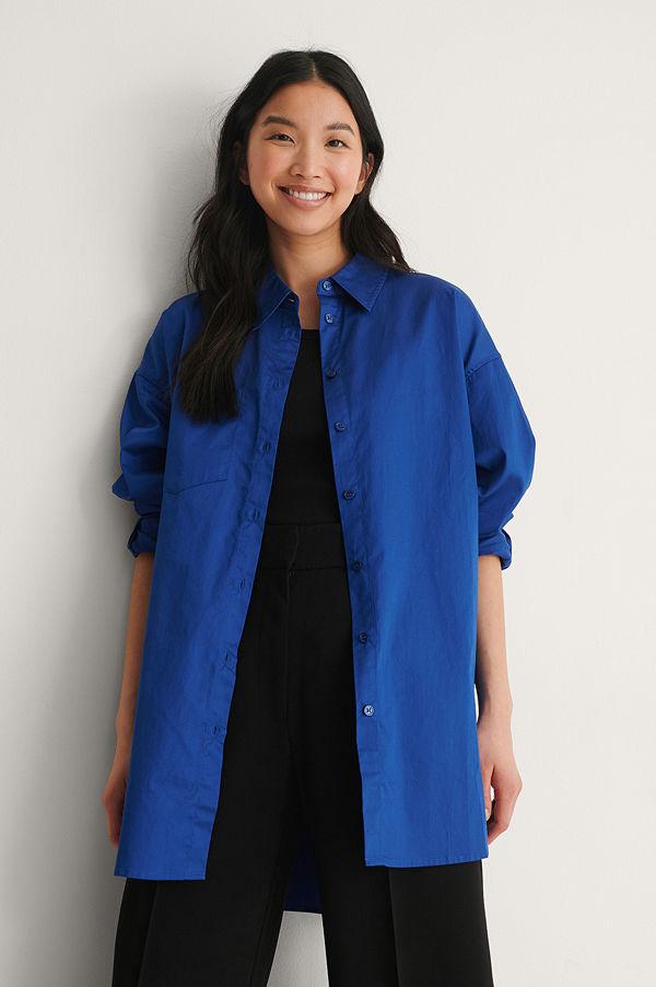 NA-KD Trend Recycled Oversize Skjorta Med Ficka blå