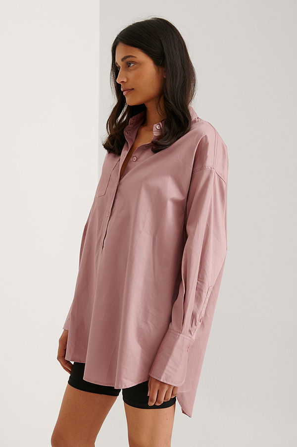 NA-KD Trend Recycled Oversize Skjorta Med Ficka rosa