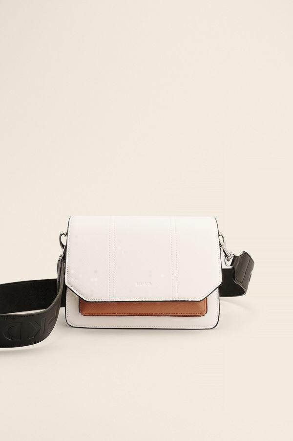NA-KD Accessories omönstrad axelväska Recycled Flerfärgad Crossbody-väska vit