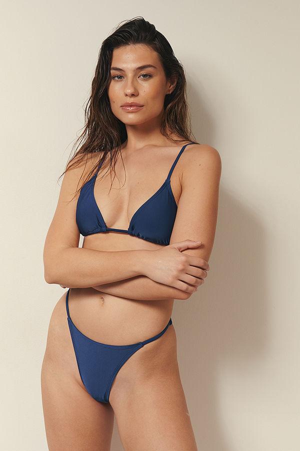 Josefine HJ x NA-KD Recycled Bikinitrosa Med Justerbara Sidoband blå