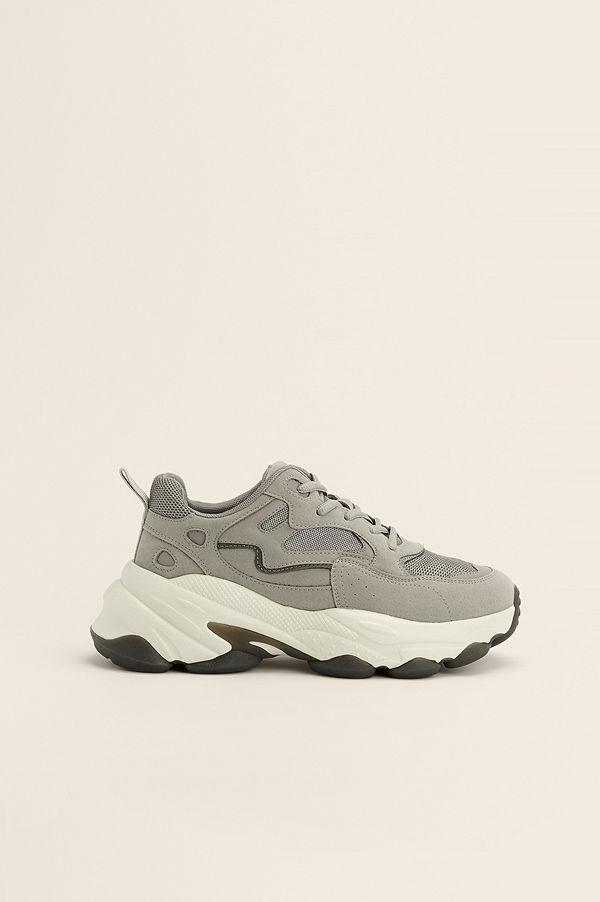 NA-KD Shoes Chunky Gympaskor Med Kontrastdetalj grå