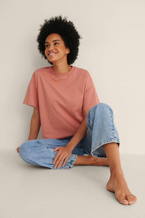 NA-KD Basic Ekologisk Oversize T-shirt Med 3/4-ärm rosa