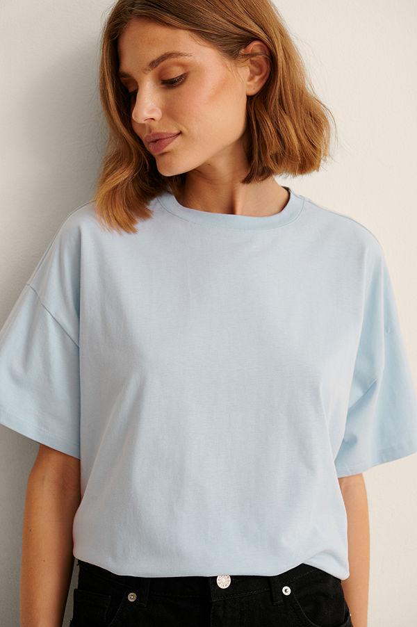 NA-KD Basic Ekologisk Oversize T-shirt Med 3/4-ärm blå