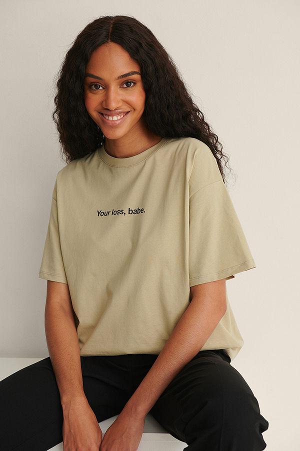 NA-KD Trend Ekologisk Ekologisk T-shirt Med Tryck grön