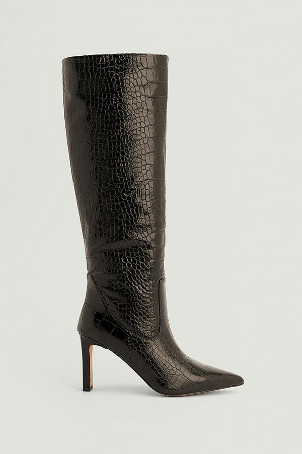 NA-KD Shoes Återvunna spetsiga boots med mjukt skaft svart