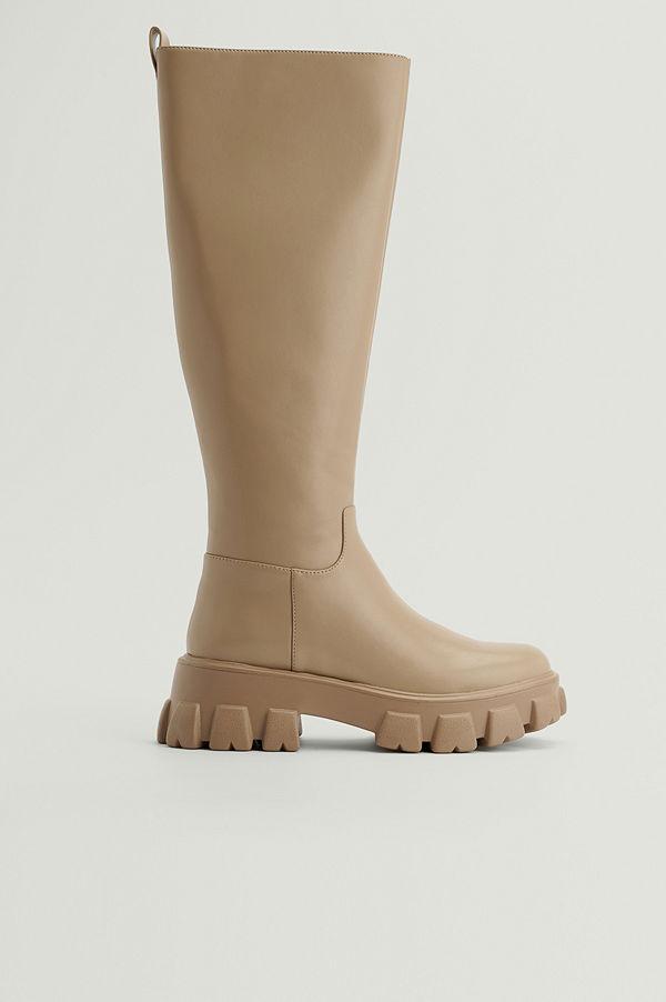 NA-KD Shoes Återvunna Boots Med Profilsula beige