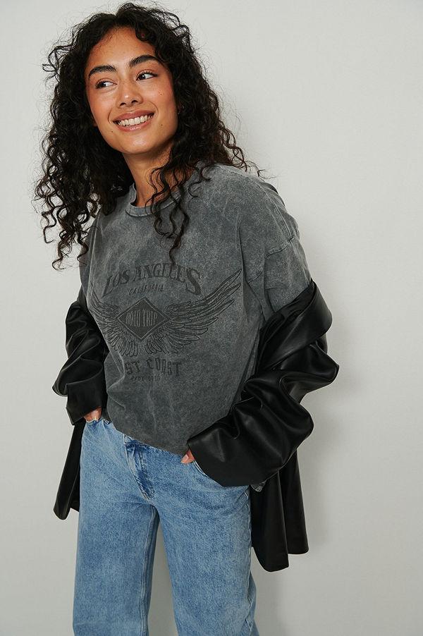 NA-KD Trend T-Shirt Med Los Angeles Tryck svart